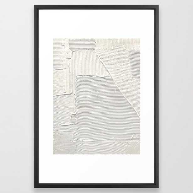Relief [2]: An Abstract, Textured Piece In White By Alyssa Hamilton Art Framed Art Print by Alyssa Hamilton Art - Vector Black - LARGE (Gallery)-26x38 - Society6