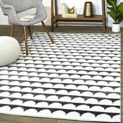 Geometric White/Black Area Rug - Wayfair