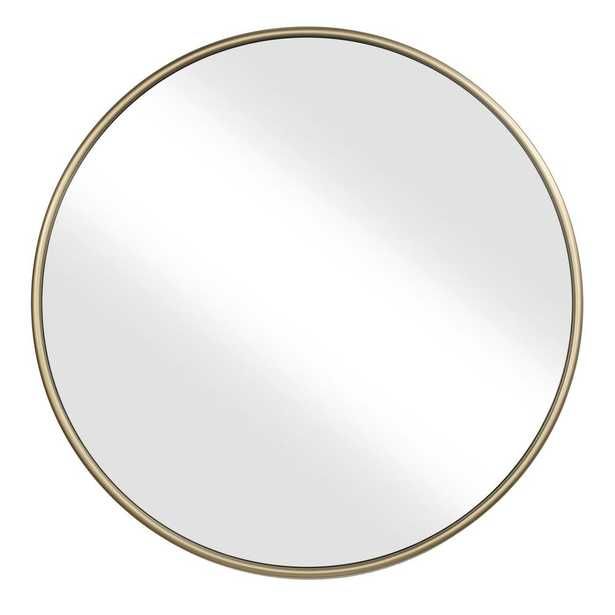 "Martin Svensson Home 36"" Gold Framed Round Wall Mirror - Home Depot"