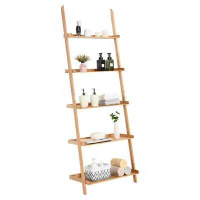 Latitude Run® 5-tier Ladder Shelf Bamboo Bookshelf Wall-leaning Storage Display Plant Stand - Wayfair