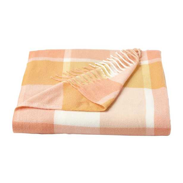 Oversized Faux Cashmere Desert Blush Plaid Acrylic Fireside Throw Blanket, Desert Blush Pink And Tan - Home Depot