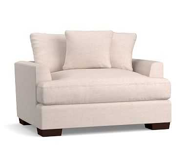 Sullivan Fin Arm Upholstered Deep Seat Chair-And-A-Half, Down Blend Wrapped Cushions, Performance Plush Velvet Navy - Pottery Barn