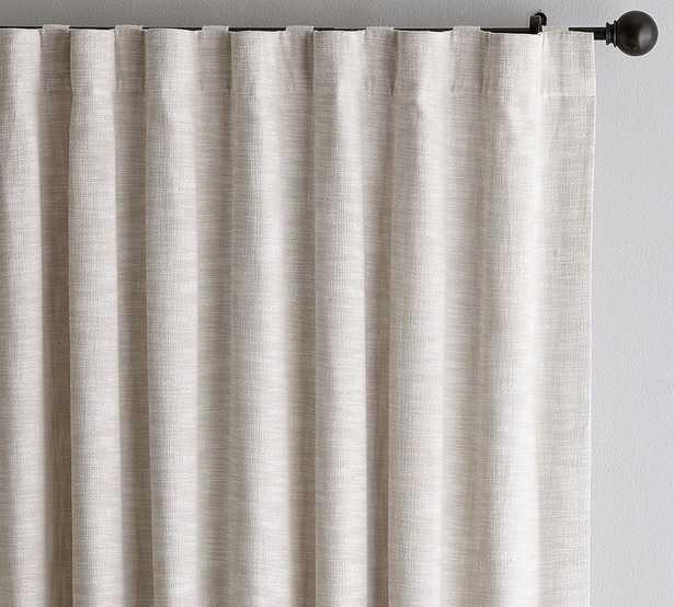 "Seaton Textured Cotton Rod Pocket Curtain, 100"" x 96"", Neutral - Pottery Barn"