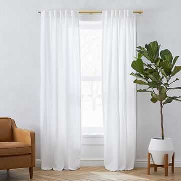 """European Flax Linen Curtain with Cotton Lining, White, 48""""x96"""" - West Elm"""