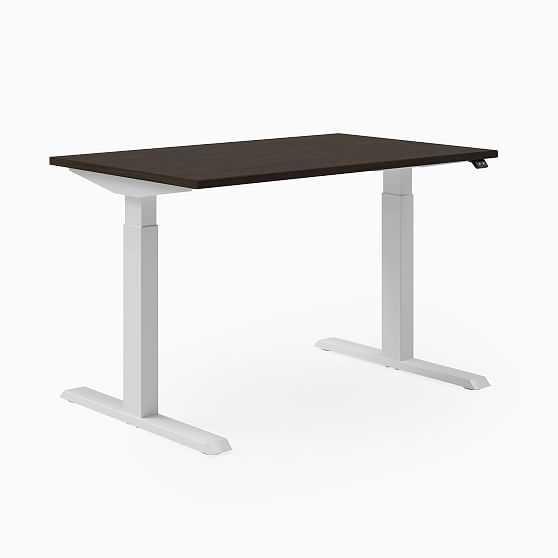 "Steelcase Migration SE Height-Adjustable Desk, 29""x58"", Blackwood, Arctic White, Mitered Edge Foot - West Elm"