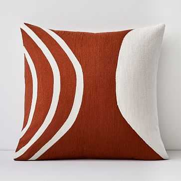 """Crewel Rounded Pillow Cover, Copper, 20""""x20"""" - West Elm"""