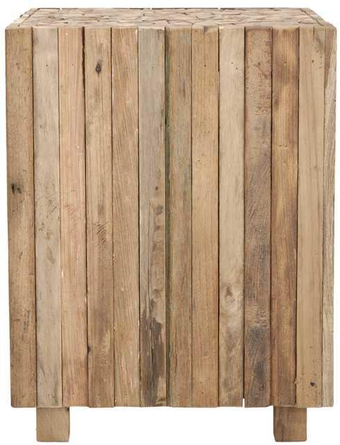 Richmond Rustic Wood Block Round Square End Table - Medium Oak - Arlo Home - Arlo Home