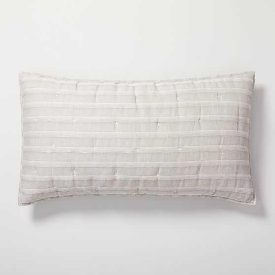 Hemp Cotton Hazy Stripe King Sham, Misty Gray, Set Of 2 - West Elm
