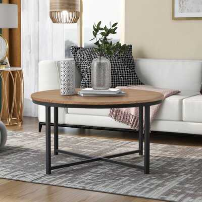 Rustic Design Round Coffee Table Featuring X-Shaped Base And Adjustable Leg - Wayfair