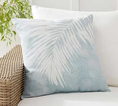 """Chambray Palm Printed Indoor/Outdoor Pillow , 20 x 20"""", Chambray Multi - Pottery Barn"""
