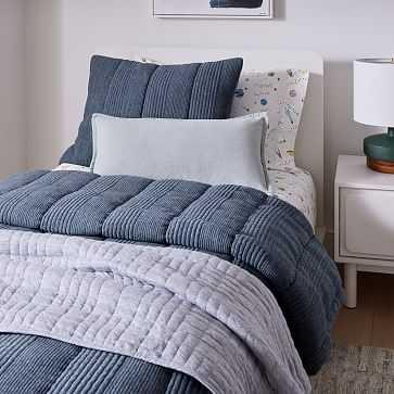 Jersey Linear Cloud Comforter, Twin/XL, Midnight, WE Kids - West Elm