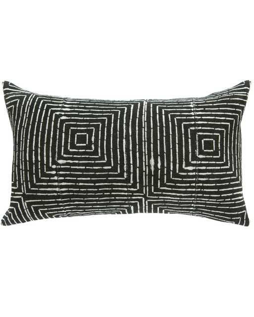 vanishing squares mud cloth large lumbar pillow in black - PillowPia