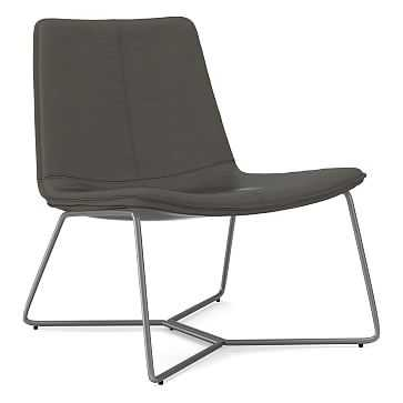Slope Lounge Chair, Poly, Vegan Leather, Cinder, Charcoal - West Elm