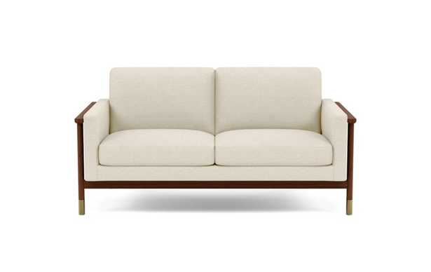 Jason Wu Loveseats with Beige Linen Fabric and Oiled Walnut with Brass Cap legs - Interior Define