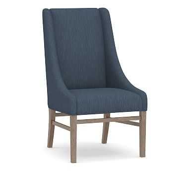 Milan Slope Arm Upholstered Dining Side Chair, Gray Wash Leg, Performance Heathered Tweed Indigo - Pottery Barn