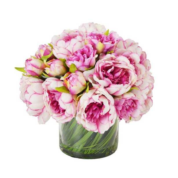 Faux Peonies Floral Arrangement in Glass Vase - Perigold