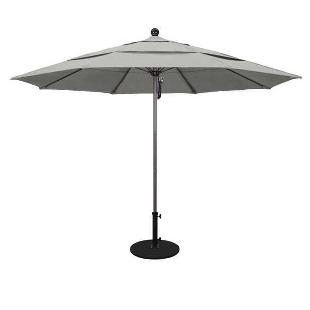 California Umbrella 11 ft. White Aluminum Pole Market Fiberglass Ribs Pulley Lift Outdoor Patio Umbrella in Granite Sunbrella - Home Depot