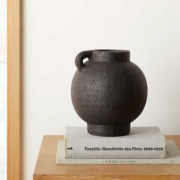 Deco Terracotta Vase, Black, Small - West Elm