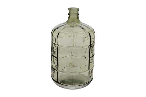 Medium Transparent Green Vintage Reproduction Glass Bottle with Embossed Windowpane Design - Nomad Home