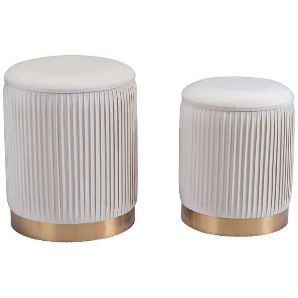 Zuo Meredith Beige Round Storage Ottomans Set of 2 - Style # 83J64 - Lamps Plus