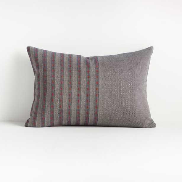 "Hiiromi Herringbone Pillow 22""x15""- Feather Down Insert - Crate and Barrel"