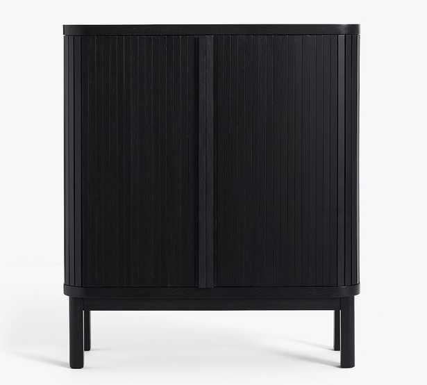 "Arlo 42"" Tambour Bar Cabinet, Onyx - Pottery Barn"