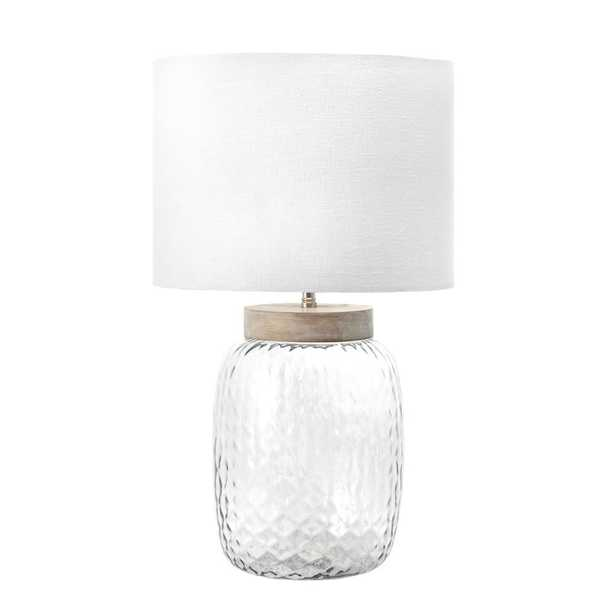 nuLOOM 20 in. Gray Haines Glass Indoor Table Lamp - Home Depot
