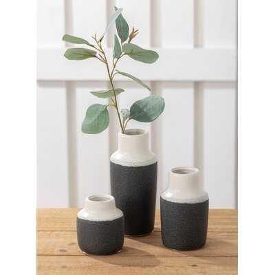 3 Piece Sandiford White/Black Indoor / Outdoor Ceramic Table Vase Set - Wayfair