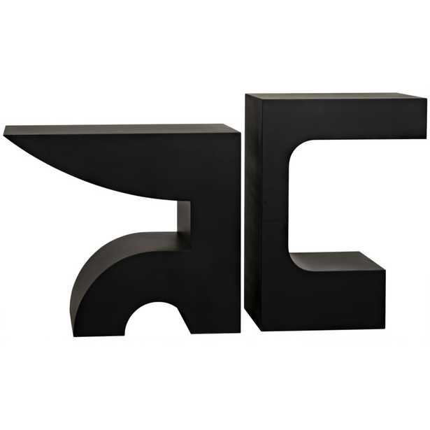 Alexander Modern Classic 2 Black Geometric Metal Console Tables - Set of 2 - Kathy Kuo Home