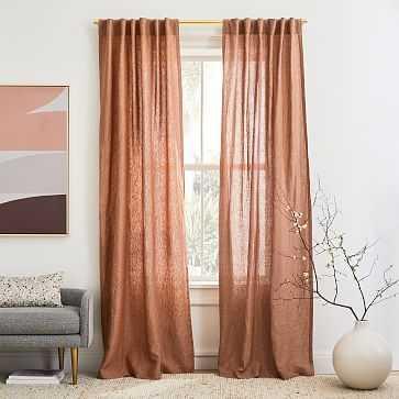 "Solid European Flax Linen Melange Curtain, Terracotta, 48""x84"", Set of 2 - West Elm"