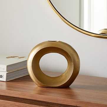 Metal Pebble Vase, Brass, Loops - West Elm