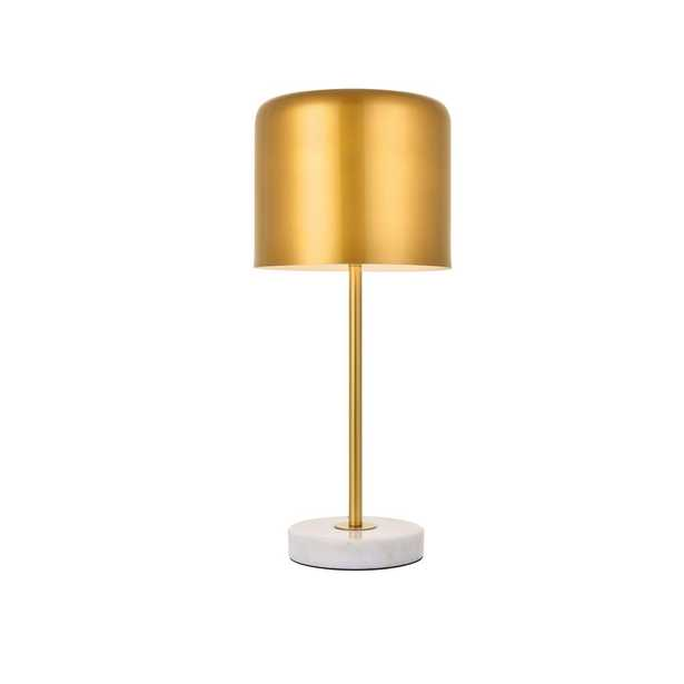 ELEGANT FURNITURE & LIGH Timeless Home 21 in. H 1-Light Metal Indoor Table Lamp in Satin Gold and White - Home Depot