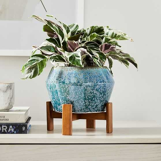 Ilya Tabletop Planter, Small, Reactive Blue, 9in - West Elm