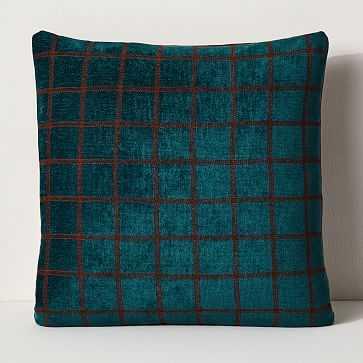 Aqua Stitched Grid Pillow - West Elm