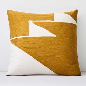"Crewel Steps Pillow Cover, Dark Horseradish, 18""x18"" - West Elm"