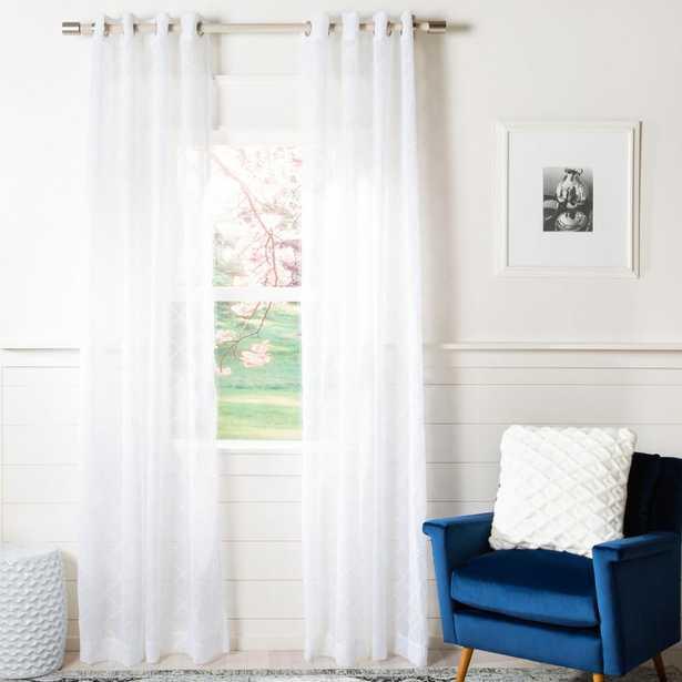 Safavieh Gracie White Semi-Sheer Window Panel 52 in. W x 96 in. L - Home Depot