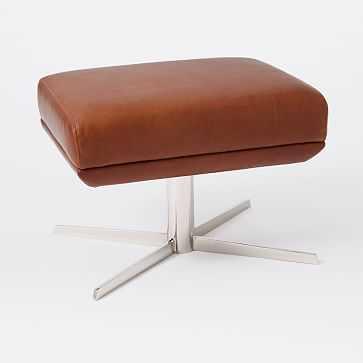 Austin Leather Ottoman Chestnut, Aspen, Polished Nickel - West Elm