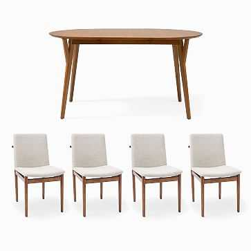 """Mid-Century 60""""-80"""" Rounded Expandable Dining Table & 4 Framework Upholstered Dining Chairs Set - West Elm"""