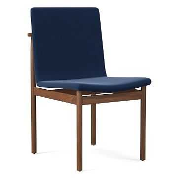 Framework Dining Chair, Performance Velvet, Ink Blue, Walnut - West Elm
