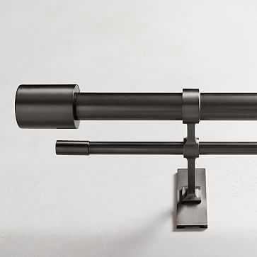 """Oversized Metal Double Rod, Antique Bronze, 108""""-144"""" - West Elm"""