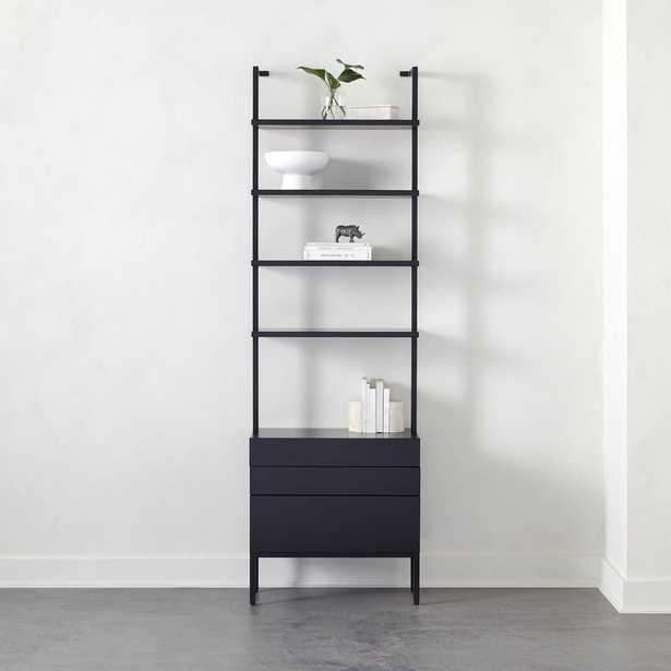 "Stairway 96"" Black Cabinet 3 Drawer - CB2"