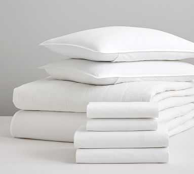 Davenport Quilt and Spencer Washed Cotton Bedding Set, Full, White - Pottery Barn