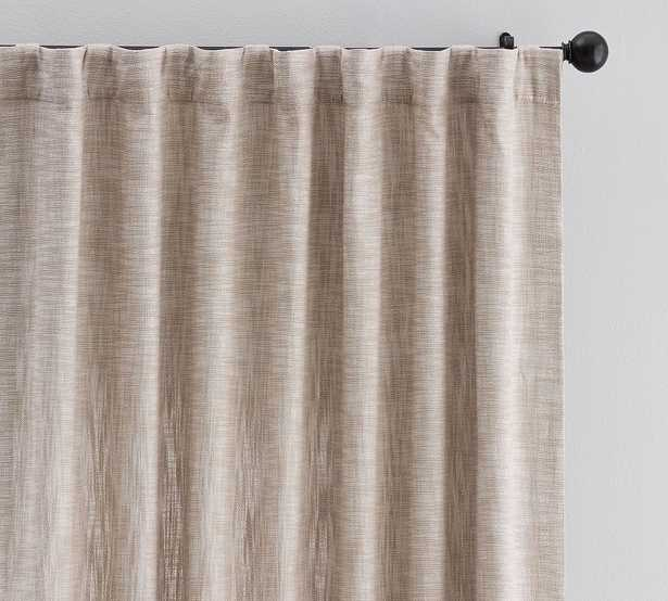 "Seaton Textured Cotton Rod Pocket Blackout Curtain, 50 x 96"", Dark Flax - Pottery Barn"