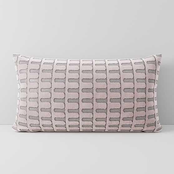 "Cut Velvet Archways Pillow Cover, Set of 2, 12""x21"", Misty Rose - West Elm"