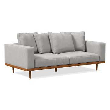 "Newport 84"" Sofa Toss Back Cushion, Down, Performance Coastal Linen, Storm Gray, Pecan - West Elm"