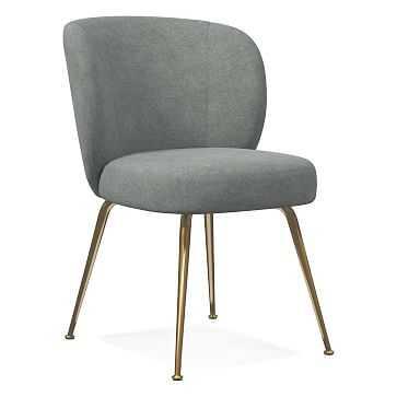 Greer Dining Chair, Distressed Velvet, Mineral Gray, Light Bronze - West Elm