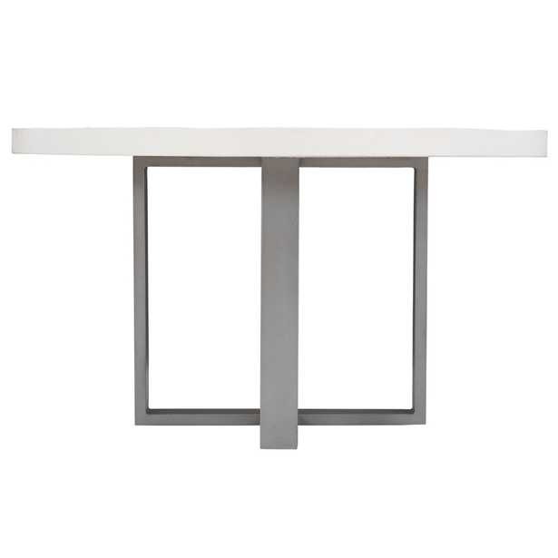 Assunta Modern Classic White Concrete Top Steel Round Outdoor Dining Table - Kathy Kuo Home