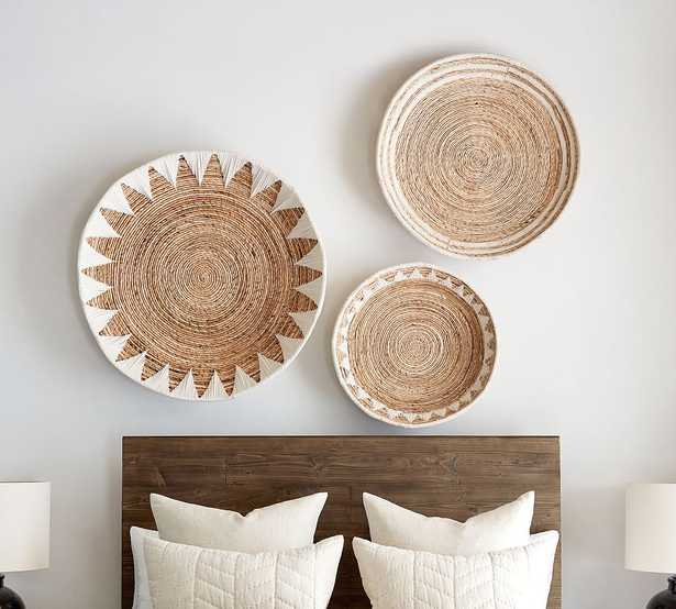 Sunny Handwoven Basket Wall Art, Natural/White - Set of 3 - Pottery Barn