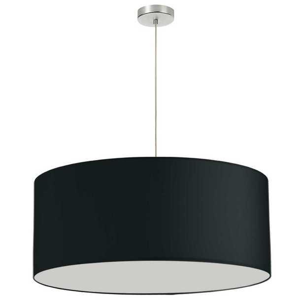 Dainolite Oversized Drum 1 Light Black Pendant with Laminated Fabric Shade - Home Depot