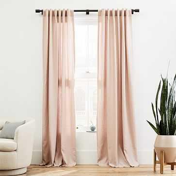 "Belgian Linen Curtain, Adobe Rose, 48""x96"" - West Elm"